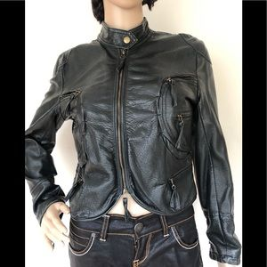 Max Studio Petite Black Faux Leather Jacket SP